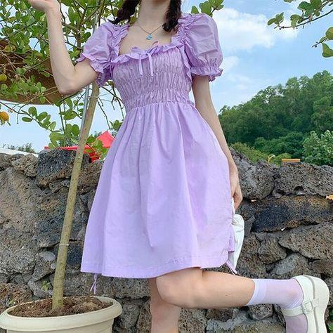 Women Short Summer Dress Kawaii Soft Girls Frill Puff Sleeve Dress Lolita Stretch Chest High Waist Ruffle Mini Dress robe fille