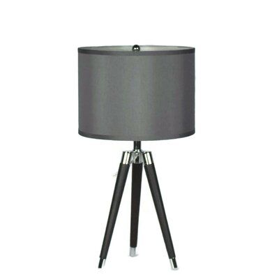 Breakwater Bay Linco Tripod Black Faux Leather Chrome Table Lamp With 14 Inch Shade Chrome Table Lamp Tripod Table Lamp Table Lamp Base