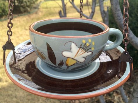 Birdfeeder, Hanging birdfeeder, upcycled birdfeeder, hanging planter, Stangl pottery birdfeeder on Etsy, $27.00