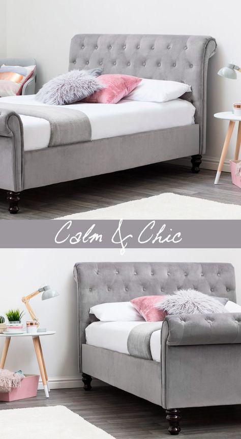 Lambeth Soft Grey Velvet Sleigh bed from crazypricebeds.com from only £279.99