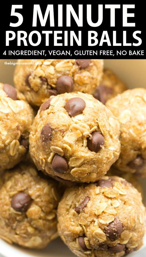 5 Minute No Bake Protein Energy Balls recipe made with just 4 ingredients! One bowl, no baking and packed with protein and fiber! Made with wholesome healthy pantry staple ingredients! Plant based and delicious! Protein Bar Recipes, Protein Foods, Protein Muffins, Protein Cookies, Healthy Protein Balls, Chocolate Protein Balls, Keto Recipes, High Fiber Snacks, High Protein Snacks