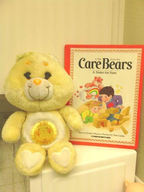Vintage Care Bear Funshine Plush Toy 1980's toy via   http://amazingelectronictoys.blogspot.com