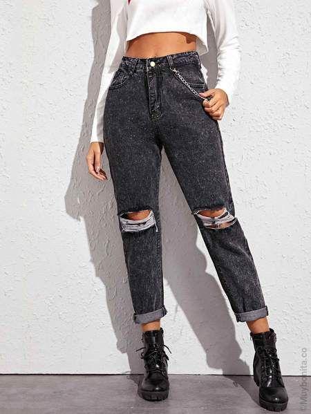 Jeans Mom Con Diseno Roto Con Cadena Pantalones De Moda Ropa Jeans Rasgados En La Rodilla
