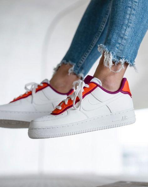 Nike Air Force 1 orange and fuchsia sneakers.   Sneakers, Slip on ...