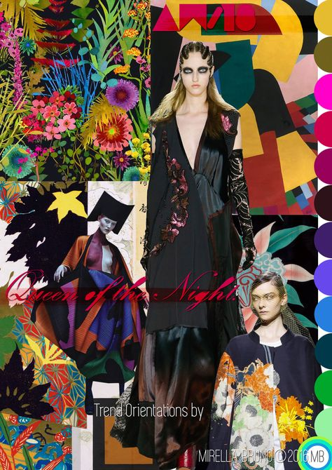 Mood Board constructions Queen of the night AW/18. Trend ideas I have been incubating for a good few months. © Mirella Bruno Print Trend Colour Design 2016. http://cargocollective.com/mirella-bruno-print-designs/Inspiration-Information