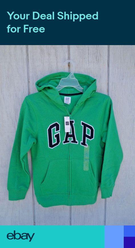 167845 NWT Boys GAP Kids Logo Hoodie Sweatshirt Zipper Black