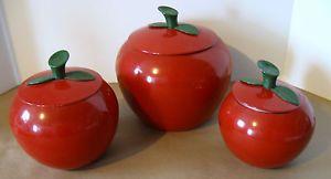 Superieur Retro Spun Aluminum Vintage 6 Pc Red Apple Canister Set 1960u0027s .