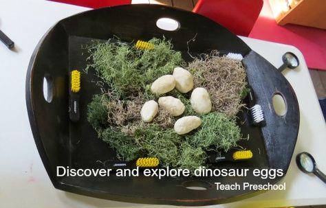 Discover and explore dinosaur eggs from Teach Preschool