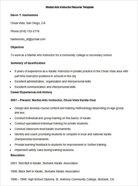 Sample Martial Arts Instructor Resume Template , How to Make ...