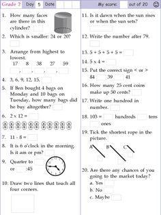 Mental Math Grade 2 Day 5 Math Pages Mental Math 2nd Grade Math Worksheets
