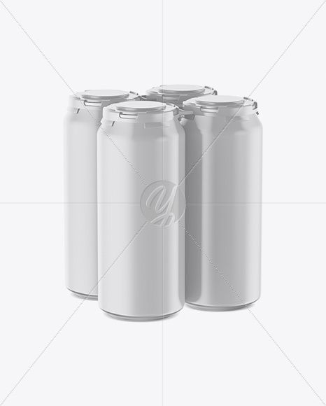 Download Pack With 4 Matte Cans With Plastic Holder Mockup Half Side View High Angle Shot In Packaging Mockups On Yellow Images Object Mockups High Angle Shot Mockup Free Psd Design Mockup Free