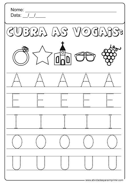 Vogais Atividades De Aprendizagem Para Criancas Alfabetizacao
