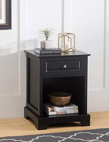 2l Lifestyle Carleton Side Table With Drawer Black Finish Small