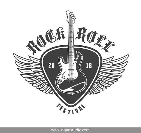 Vintage monochrome rock and roll music festival emblem with winged electric guitar plectrum. Click to the link to find more rock&roll emblems, badges, posters and designs. #vectorillustration #vector#illustration #design #dgimstudio #music #rock #roll #ro