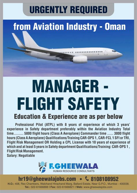 URGENTLY REQUIRED Manager Flight Safety for Aviation Industry Oman - boeing aerospace engineer sample resume
