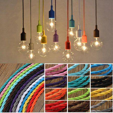 1m Vintage Coloured Twist Braided 3 Core Fabric Lighting Flex Cable Cord Walmart Com In 2020 Twist Braids Diy Hanging Light Lamp Light