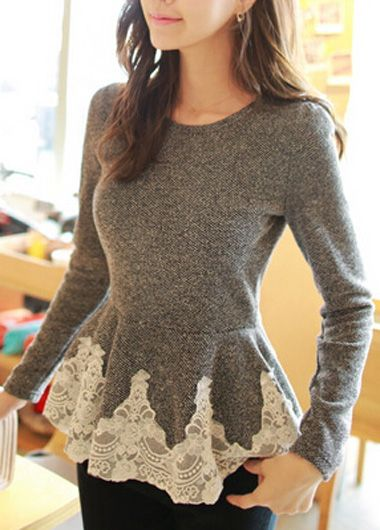 Flouncing Design Round Neck Lace Splicing Tee