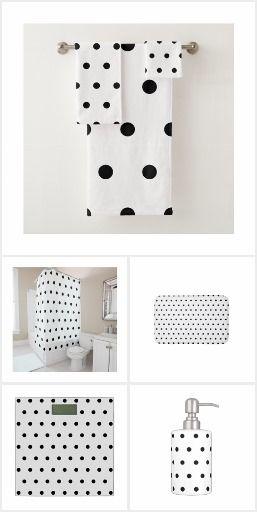 Black And White Polka Dots Pattern Bath Towel Set Polka Dot