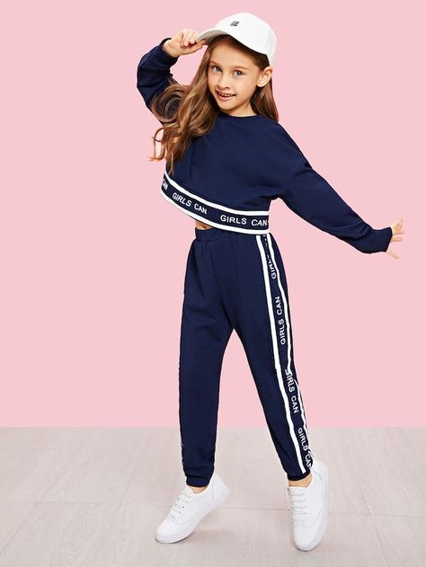 SHEIN Black Girls Lettering Trim Casual Pullover And Pants Set Kids Clothing 2019 Spring Active Wear Long Sleeve Girls Clothes