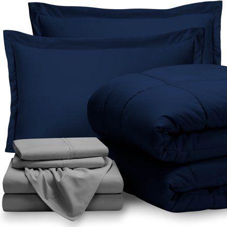 5 Piece Bed In A Bag Twin Xl Comforter Set Dark Blue Sheet