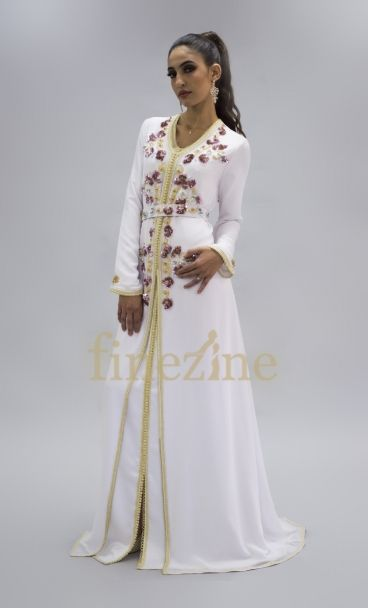 Caftan Kaftan Satin Moroccan Dress Gown Embroidery Fancy Wedding w//Belt White