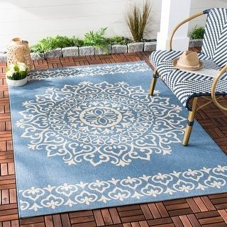 Safavieh Beach House Adelle Indoor Outdoor Carpet 9 X 12 Cream Blue Ivory In 2020 Outdoor Rugs Patio Outdoor Rugs Indoor Outdoor Rugs