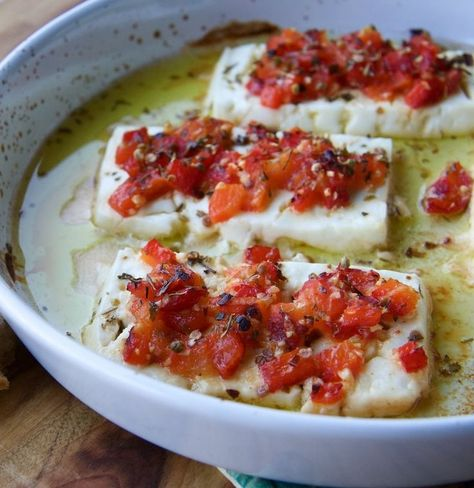 Baked Feta cheese with chilli and oregano