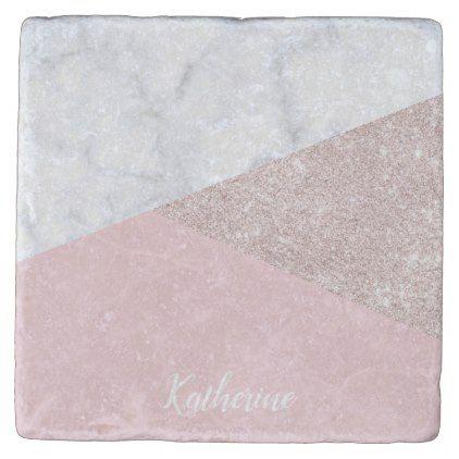 Elegant Girly Rose Gold Glitter White Marble Pink Stone Coaster Zazzle Com Pink Marble Stone Coasters Pink Stone