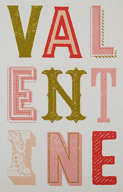 type, lettering, design, valentine, retro, printmaking, texture, typography