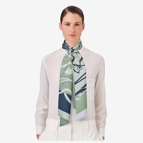 Sea Blue Mermaid Skinny Scarf Girls Necktie//Sash Tie//Headdress