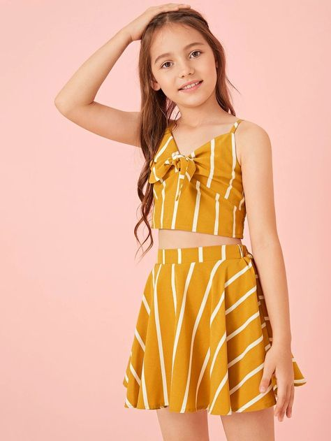 Tie Front Shirred Striped Cami Top & Skirt Set -Girls Tie Front Shirred Striped Cami Top & Skirt Set - Girls Button Detail Grid Top and Buckle Belted Shorts Set