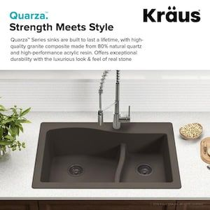 Kraus Quarza 33 In X 22 In Grey Double Basin Drop In Or Undermount