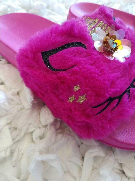 ba3de5ec865 Dark Pink Unicorn Slippers  Fur slippers  Kids fur slides  Kids ...