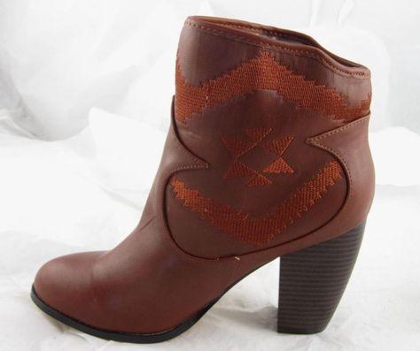 Womens Michael Antonio Short Red Brown Cowboy Western Ankle Boots Booties 10 #MichaelAntonio #CowboyWestern #Casual
