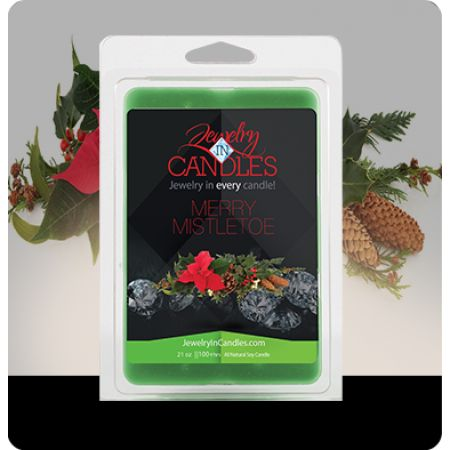 You are bound to love this fragrance, as it fills up your home this season. Mistletoe isn't just for kissing under! A blend of citrus, blue spruce, and frosted cranberries create this perfect holiday scent! Merry Mistletoe Wax Tarts Infused with Fir, Peppermint, and Cedar Leaf essential oils  ​Jumbo 5.5oz package of 6 scented wax tarts - 100% all natural soy wax tart. Jewelry hidden in every package of scented wax tarts.