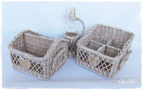 Купить Набор для кухни (две плетеные корзинки и бутылочка) - коричневый…