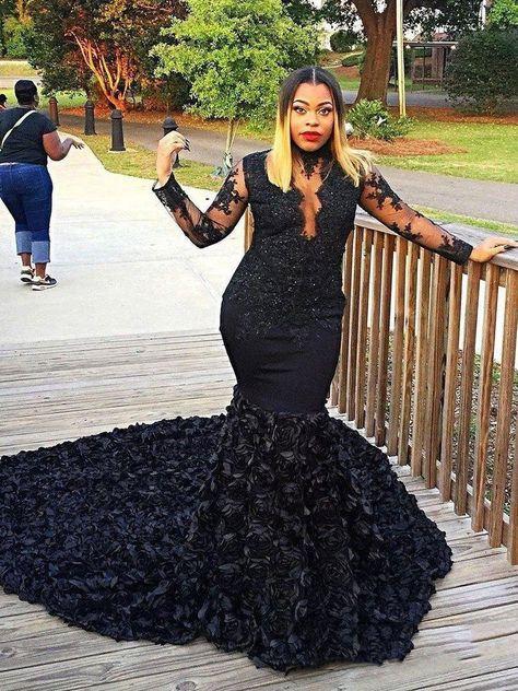 Black Satin Ruffled 3D Rose Plus Size Prom Dress