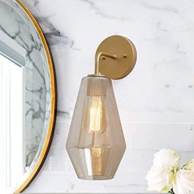 Ksana A03611 Gold Wall Sconce Bathroom Vanity Light Fixtures With Smoked Glass Shade Fo Vanity Light Fixtures Gold Wall Sconce Light Fixtures Bathroom Vanity Modern bathroom wall sconces