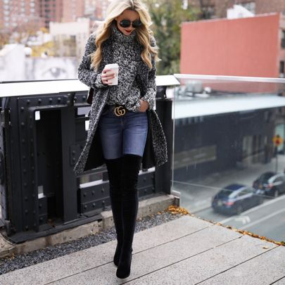 Cozy sweater Stuart Weitzman over-the-knee boots Gucci - Gucci Belt - Ideas of Gucci Belt - Perfect winter outfit. Cozy sweater Stuart Weitzman over-the-knee boots Gucci belt.