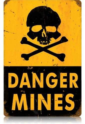Military Wall Sign Ideal for Kids Bedrooms Dens or Man Cave Danger Mines