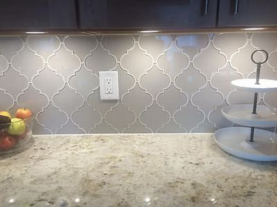Country Cottage Light Taupe Arabesque Glass Mosaic Tiles Backsplash Bathroom 6 99 Arabesque Tile Backsplash Arabesque Tile Stone Backsplash