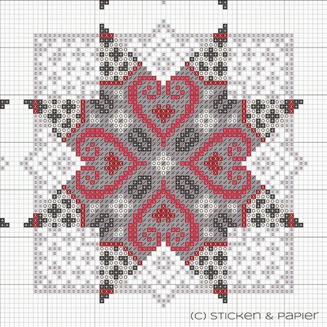 (Symbol) Farbe  (0) creme/weiß          DMC 3865      creme (=) hellgrau                DMC  762        (/) mittelgrau             DMC  318       (+) dunkelgrau            DMC  413      (U) pink kräftig           DMC  326         (X) dunkelrot              DMC  816