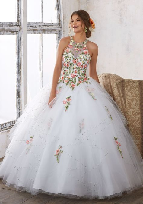 46e5c711a5e Embroidered High Neck Quinceanera Dress by Mori Lee Vizcaya 89124 ...