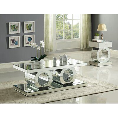 Everly Quinn Matthieu Coffee Table Coffee Table Mirrored Coffee Tables Coffee Table Setting Piece living room table set
