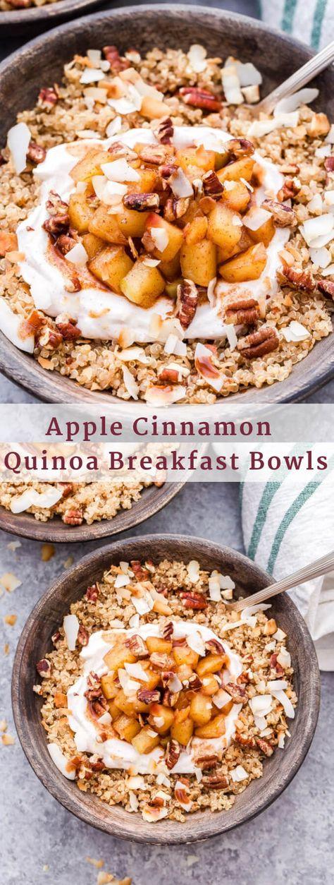 Cinnamon Quinoa Breakfast Bowls are the coziest way to start your morning . - -Apple Cinnamon Quinoa Breakfast Bowls are the coziest way to start your morning . Quinoa Breakfast Bowl, Apple Breakfast, Healthy Breakfast Recipes, Brunch Recipes, Gourmet Recipes, Brunch Ideas, Quinoa Bowl, Healthy Morning Breakfast, Quinoa Paleo