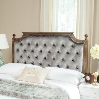 Safavieh Bedding Rustic Wood Grey Tufted Velvet Queen Headboard Grey Rustic Oak Rustic Wood Headboard Tufted Upholstered Headboard Upholstered Panels