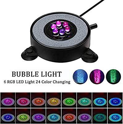 Amazon Com Aquarium Bubble Light Ledgle 6 Led Round Fish Tank Air Bubbler Fish Tank Light With Auto 24 Color In 2020 Fish Tank Lights Bubble Lights Round Fish Tank
