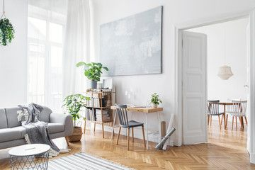 Stylish Scandinavian Open Space With Design Furniture Plants Bamboo Bookstand And Wooden Desk Brown Wooden Interior Wall Decor Bright Rooms Furniture Design