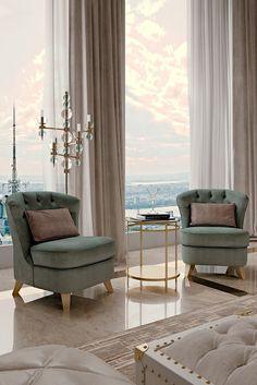 Italian Designer Button Upholstered Art Deco Inspired Chair ...