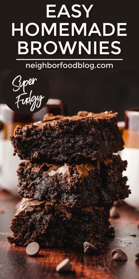 This Homemade Brownie Recipe checks all the boxes! These are easy, made in a single pot, super FUDGY, rich, and chocolatey! This will become your go-to chewy brownie recipe! Homemade Fudge Brownies, Chewy Brownies, Best Brownies, Homemade Brownie Recipes, Healthy Brownie Recipes, Cupcake Brownies, Making Brownies, Blonde Brownies, Dark Chocolate Brownies